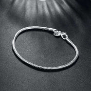 Round Snake Bracelet Plated in 18K White Gold-Daily Steals
