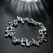 Musical Notes Bracelet Plated in 18K White Gold-Daily Steals