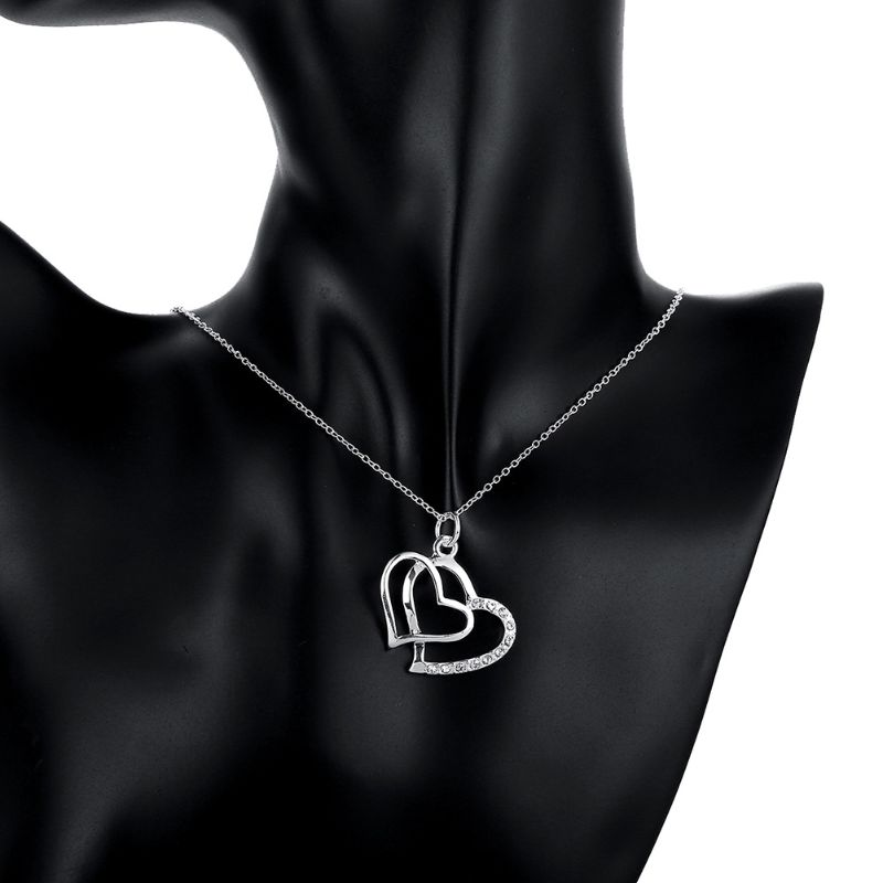 Double Heart Necklaces Plated in 18K White Gold-Daily Steals