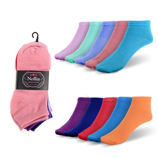 Women's Solid-Color Low-Cut Socks - 10 Pack-Multi Color-Daily Steals