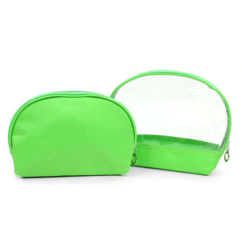 Ladies Clear and Solid Color Make Up, Cosmetics and Toiletry Bags - 2 Piece Set-Green-Daily Steals