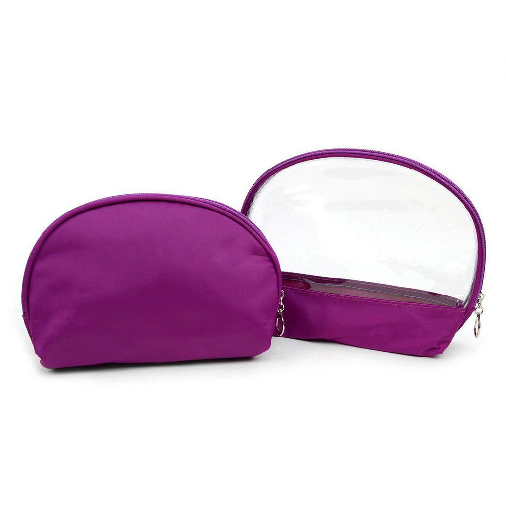 Ladies Clear and Solid Color Make Up, Cosmetics and Toiletry Bags - 2 Piece Set-Purple-Daily Steals