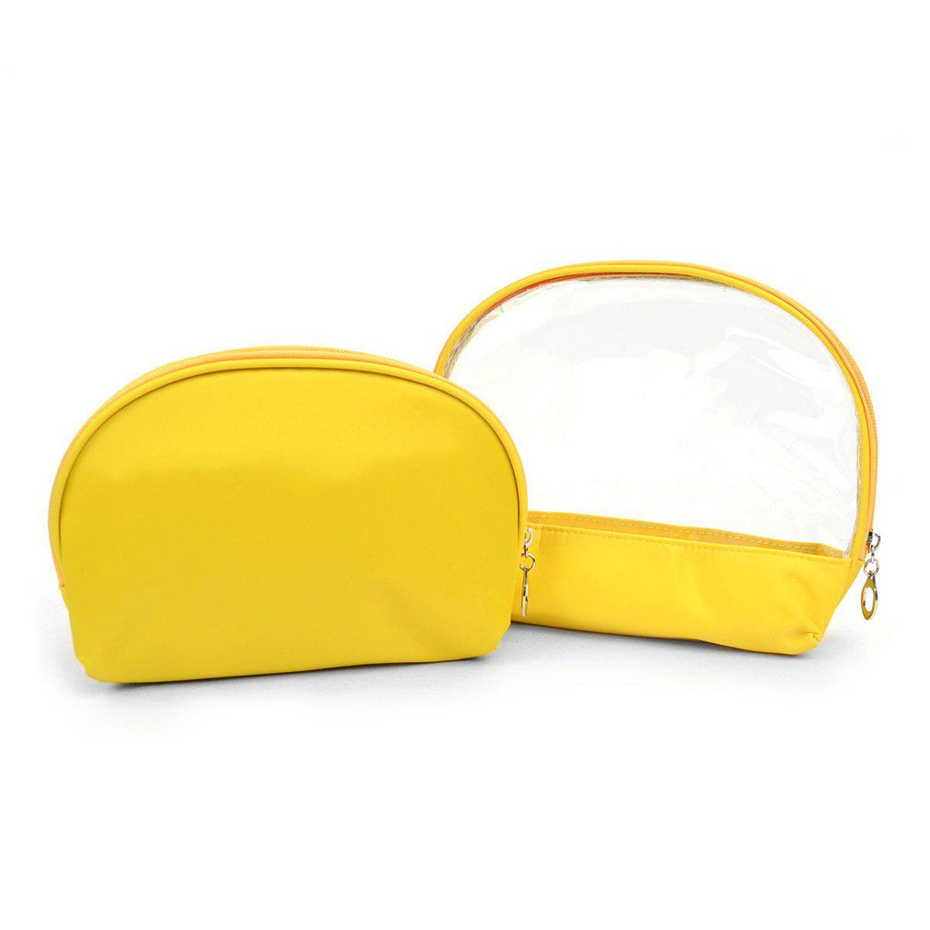 Ladies Clear and Solid Color Make Up, Cosmetics and Toiletry Bags - 2 Piece Set-Yellow-Daily Steals