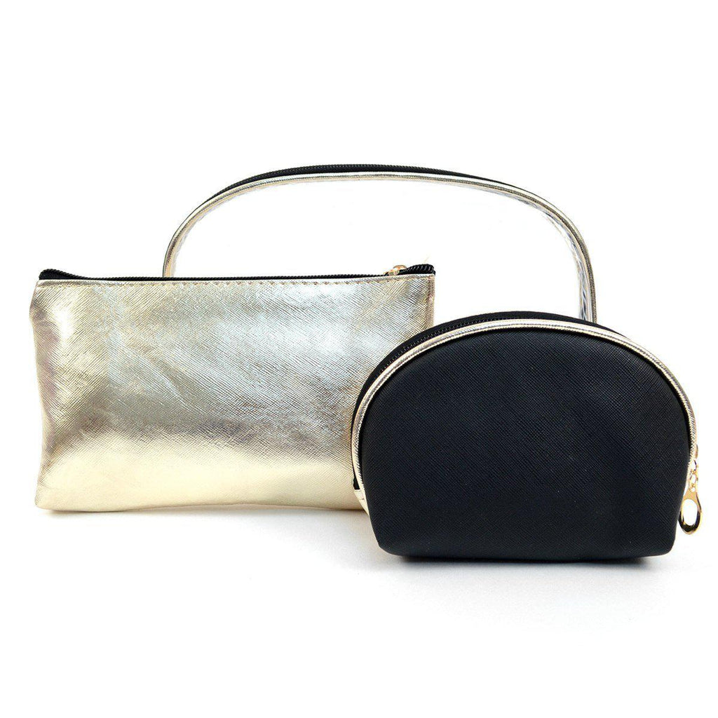 Clear and Gold 3-Piece Makeup Pouch Set-Black-Daily Steals