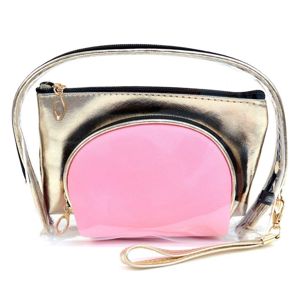 Clear and Gold 3-Piece Makeup Pouch Set-Daily Steals