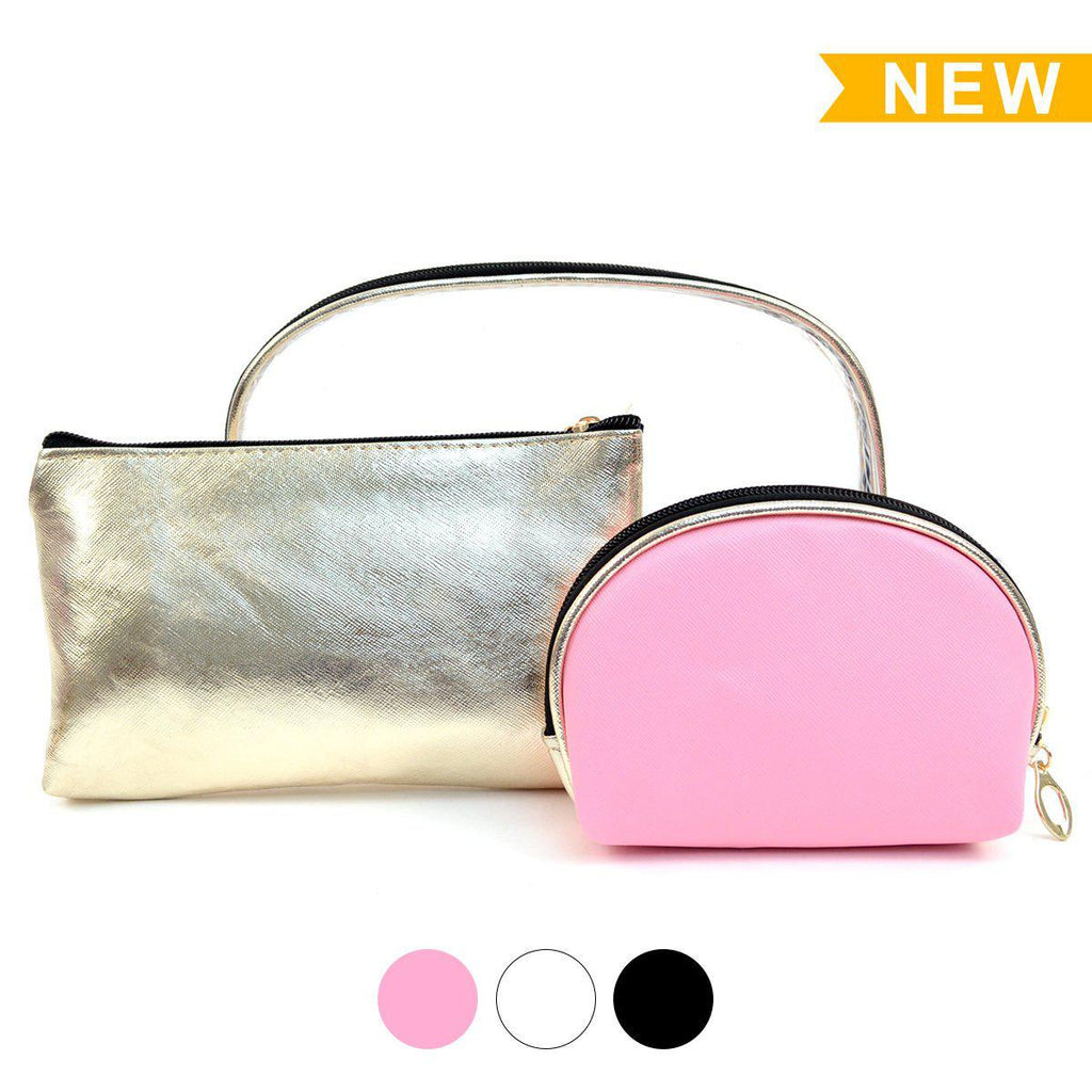 Clear and Gold 3-Piece Makeup Pouch Set-Pink-Daily Steals