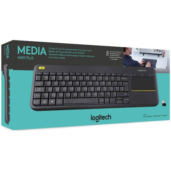 Logitech K400 Plus Wireless Touch TV Keyboard with Easy Media Control-