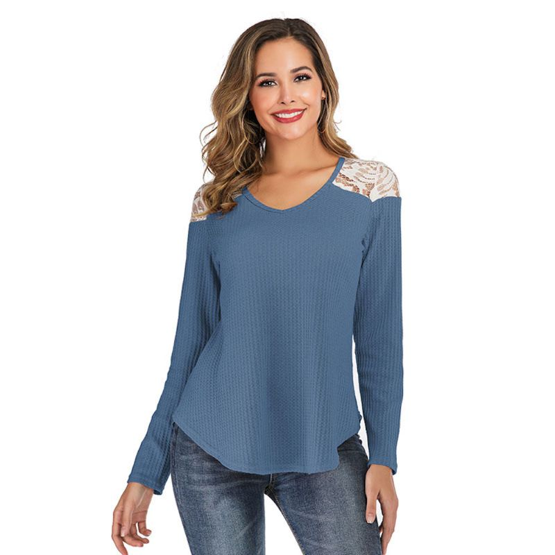 Long Sleeve Lace Shoulder Waffle Top-Blue-2X-Daily Steals