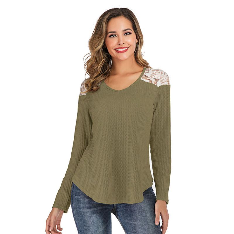 Long Sleeve Lace Shoulder Waffle Top-Green-2X-Daily Steals