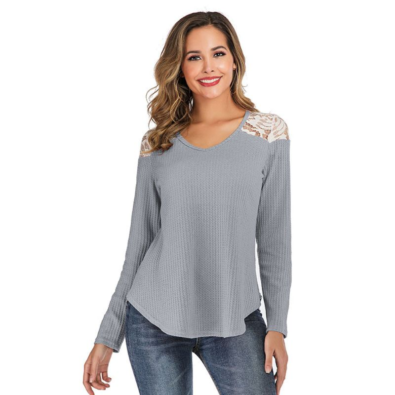 Long Sleeve Lace Shoulder Waffle Top-Grey-2X-Daily Steals