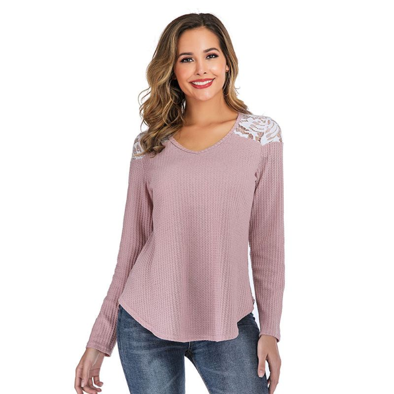 Long Sleeve Lace Shoulder Waffle Top-Pink-S-Daily Steals