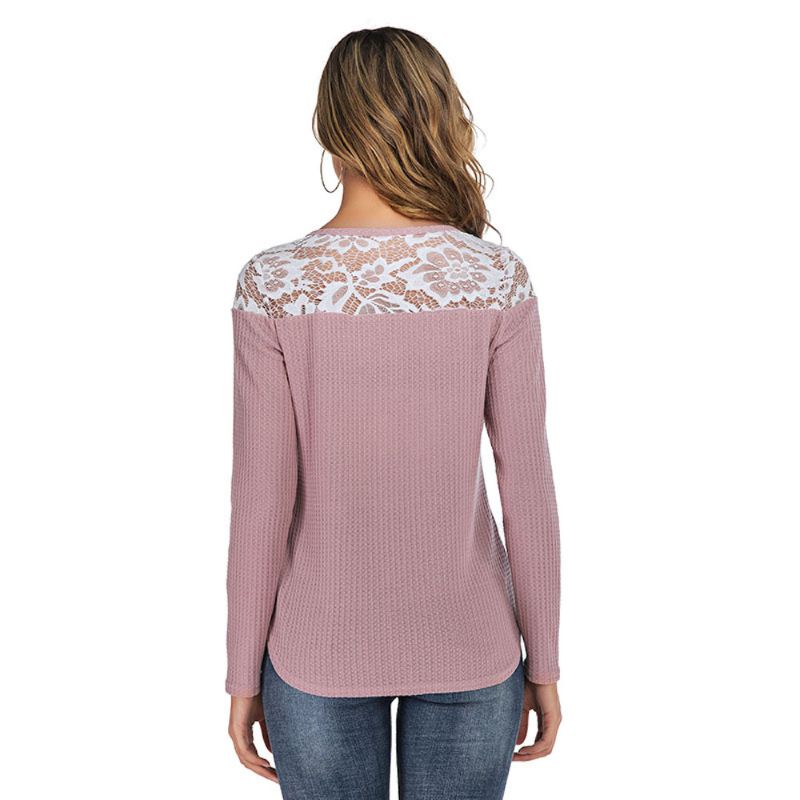 Long Sleeve Lace Shoulder Waffle Top-Daily Steals