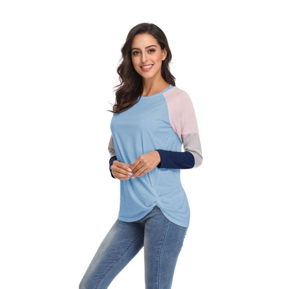 Long Sleeve Tri-Color Top-Blue-Large-Daily Steals