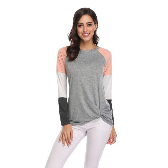 Long Sleeve Tri-Color Top-Peach-Small-Daily Steals