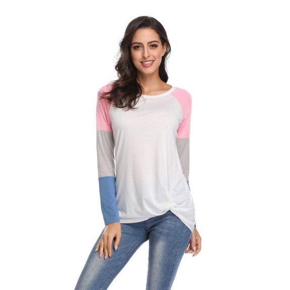 Long Sleeve Tri-Color Top-Pink-Large-Daily Steals