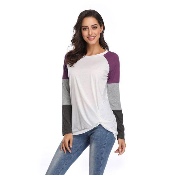 Long Sleeve Tri-Color Top-Purple-Small-Daily Steals