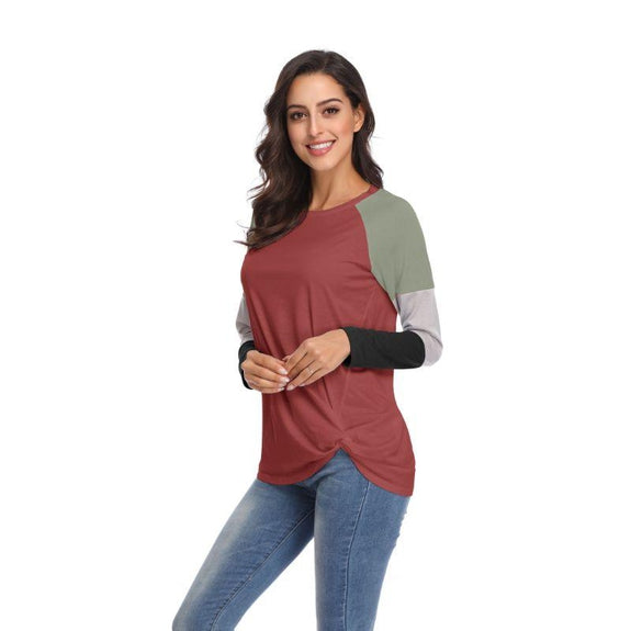 Long Sleeve Tri-Color Top-Red-Large-Daily Steals