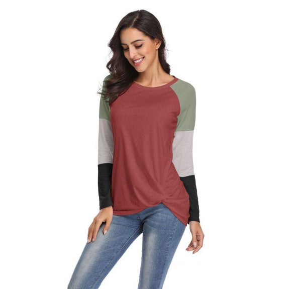 Long Sleeve Tri-Color Top-Daily Steals