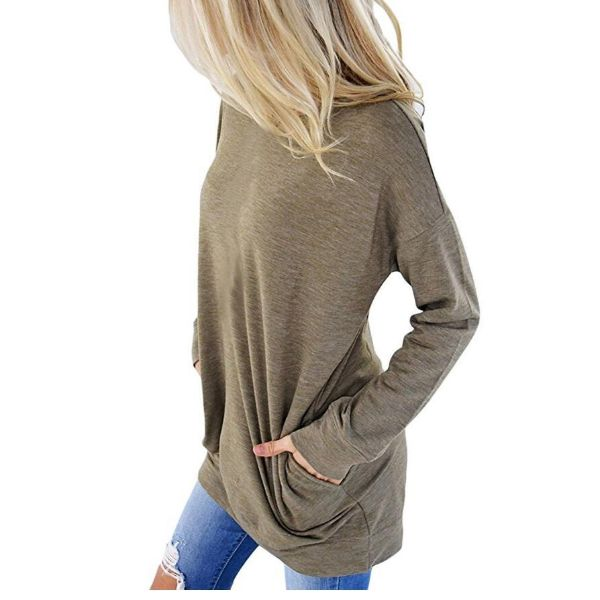 Solid Long Sleeve Shirt-Beige-2X-Daily Steals