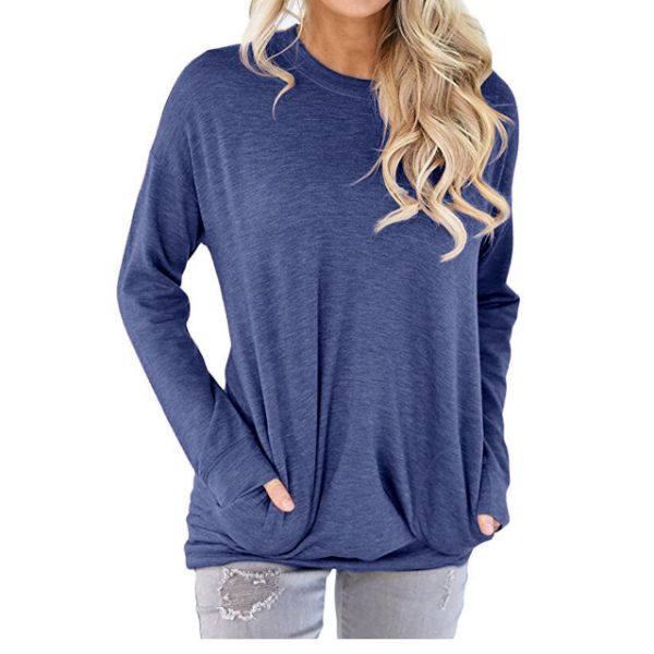 Solid Long Sleeve Shirt-Blue-2X-Daily Steals