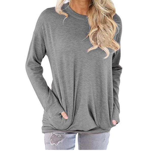 Solid Long Sleeve Shirt-Light Grey-2X-Daily Steals