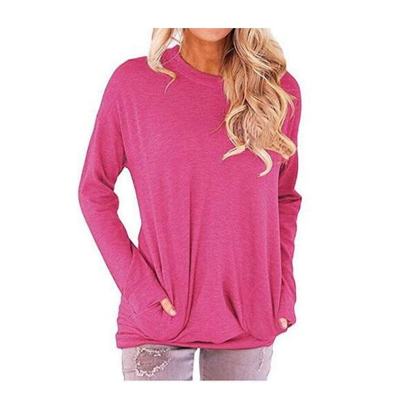 Solid Long Sleeve Shirt-Pink-2X-Daily Steals