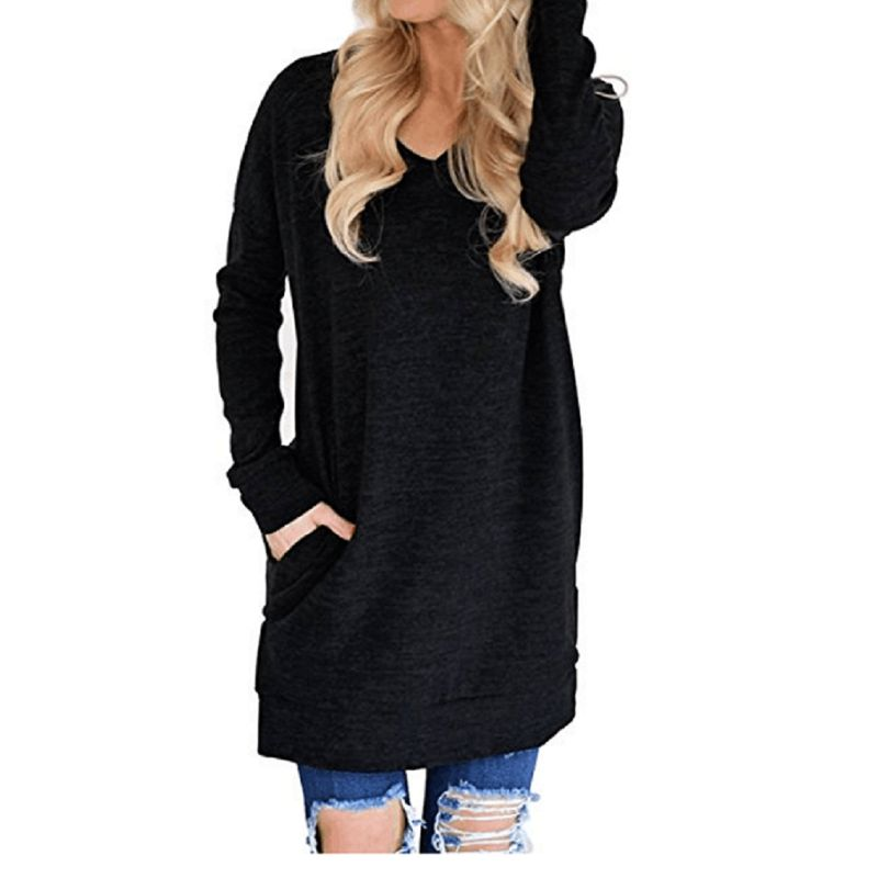 Long V-Neck Long Sleeve Top-Black-XL-Daily Steals