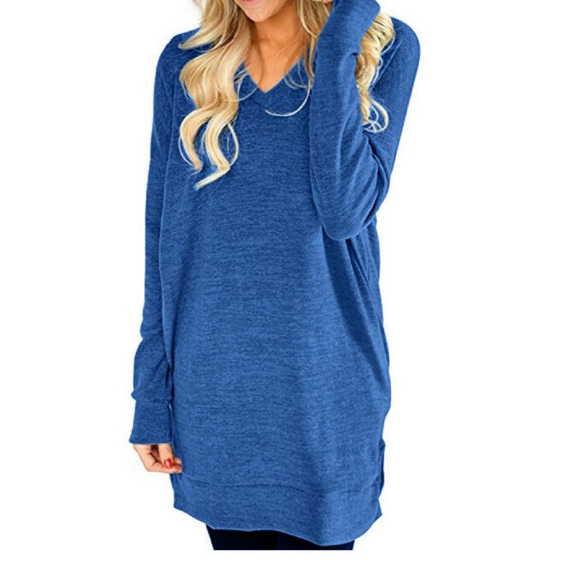 Long V-Neck Long Sleeve Top-Blue-XL-Daily Steals