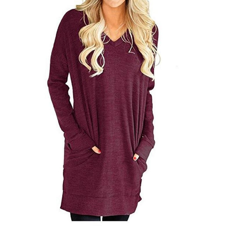 Long V-Neck Long Sleeve Top-Burgundy-Medium-Daily Steals