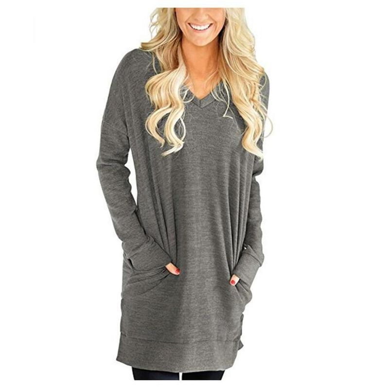 Long V-Neck Long Sleeve Top-Light Grey-Medium-Daily Steals