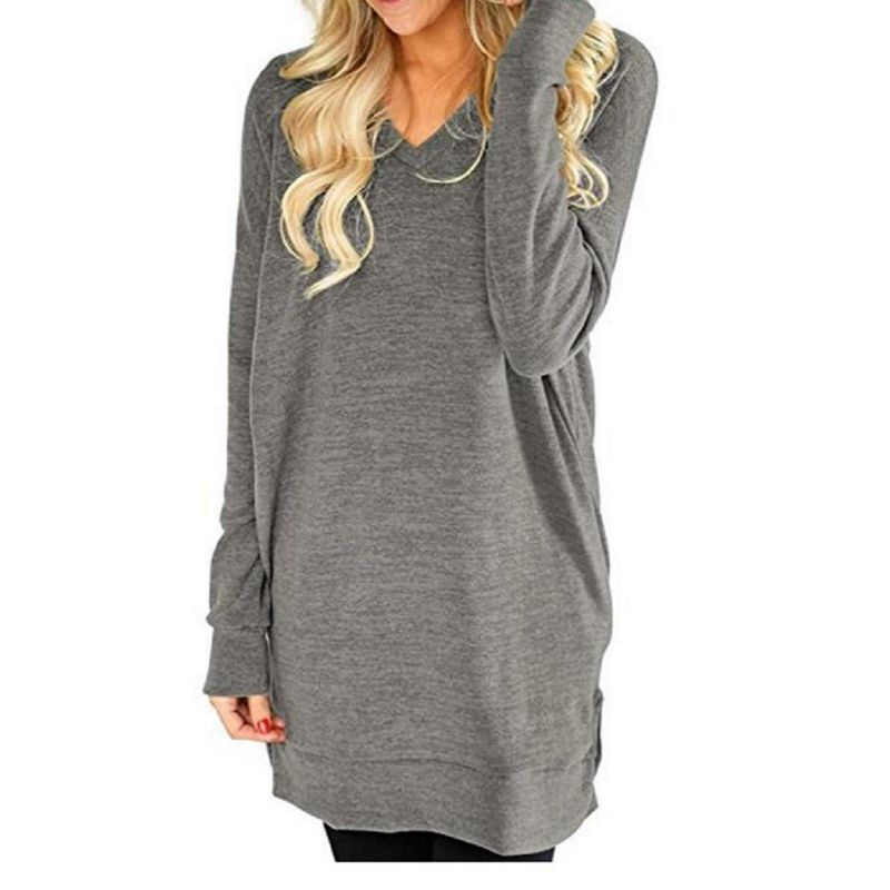 Long V-Neck Long Sleeve Top-Daily Steals