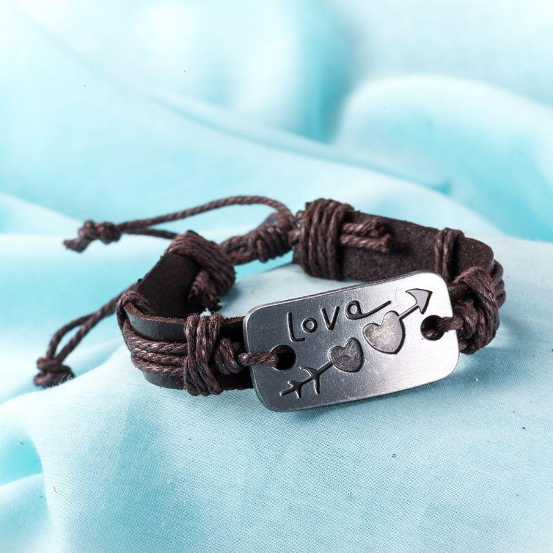 LOVE Arrow Vegan Leather Bracelet Plated in 18k White Gold-Daily Steals
