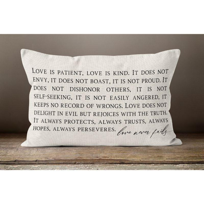 "Love Is Patient - Lumbar Pillow Cover - 20"" x 12""-"