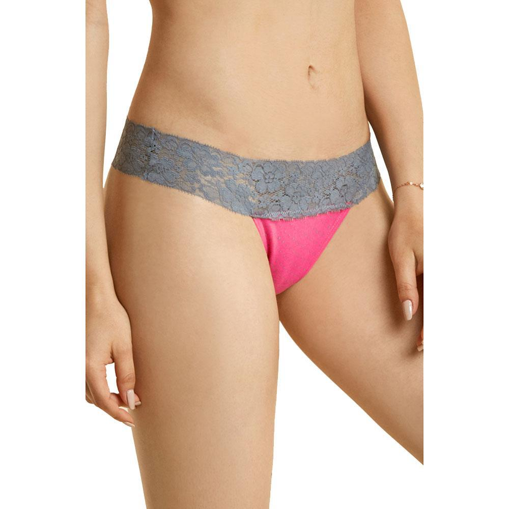 Unibasic Duo Color Detailed Lace Cotton Thong - 12 Pack-Daily Steals