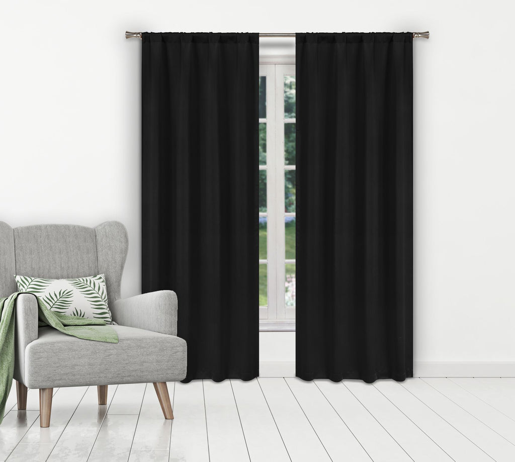 Solid Room-Darkening Double-Layered Window Panels (2-Pack)-Black-Daily Steals