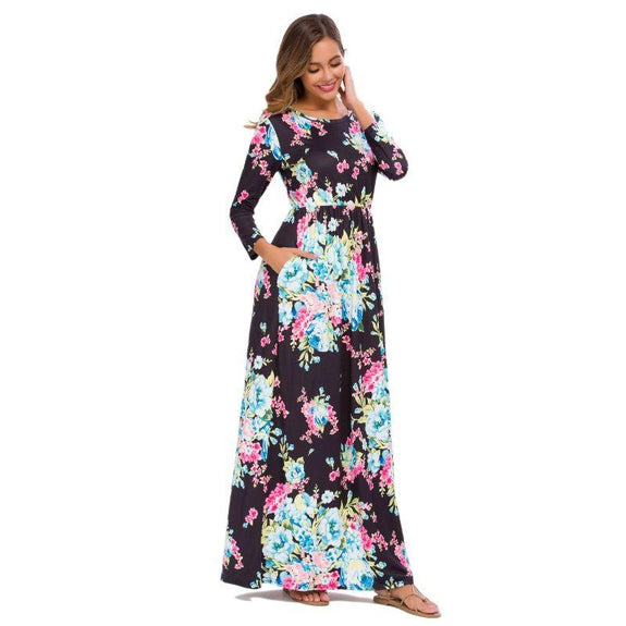 Long Sleeve Maxi Floral Dress-Daily Steals