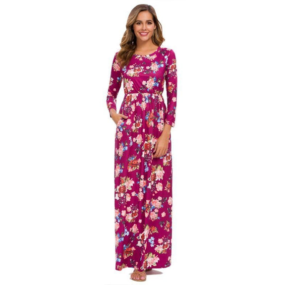 Long Sleeve Maxi Floral Dress-Burgundy-2X-Daily Steals