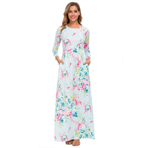 Long Sleeve Maxi Floral Dress-Mint-2X-Daily Steals