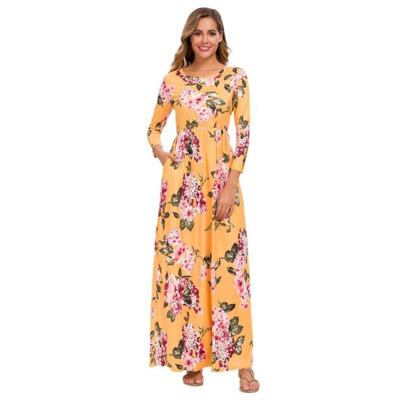 Long Sleeve Maxi Floral Dress-Mustard-Small-Daily Steals
