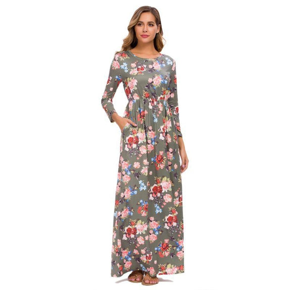 Long Sleeve Maxi Floral Dress-Olive-3X-Daily Steals