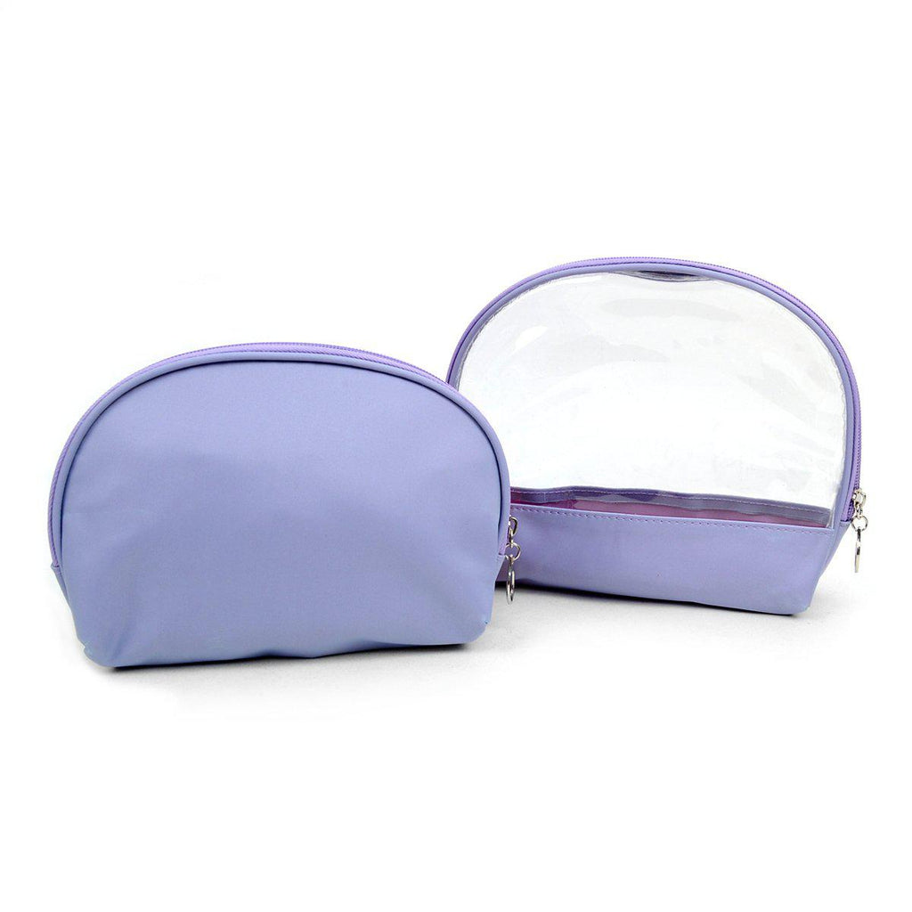 Ladies Clear and Solid Color Make Up, Cosmetics and Toiletry Bags - 2 Piece Set-Lavender-Daily Steals
