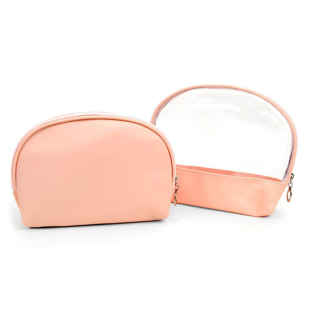 Ladies Clear and Solid Color Make Up, Cosmetics and Toiletry Bags - 2 Piece Set-Pink-Daily Steals