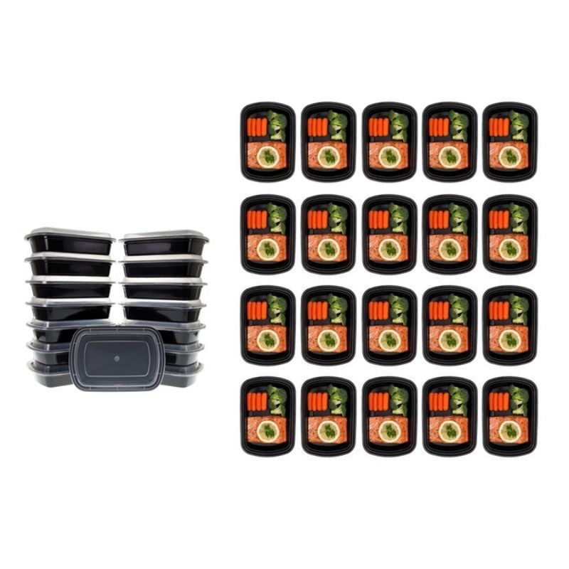 Reusable Food Storage Container Set - 20 or 40 Piece-1 Compartment 32oz - 20 Piece-Daily Steals