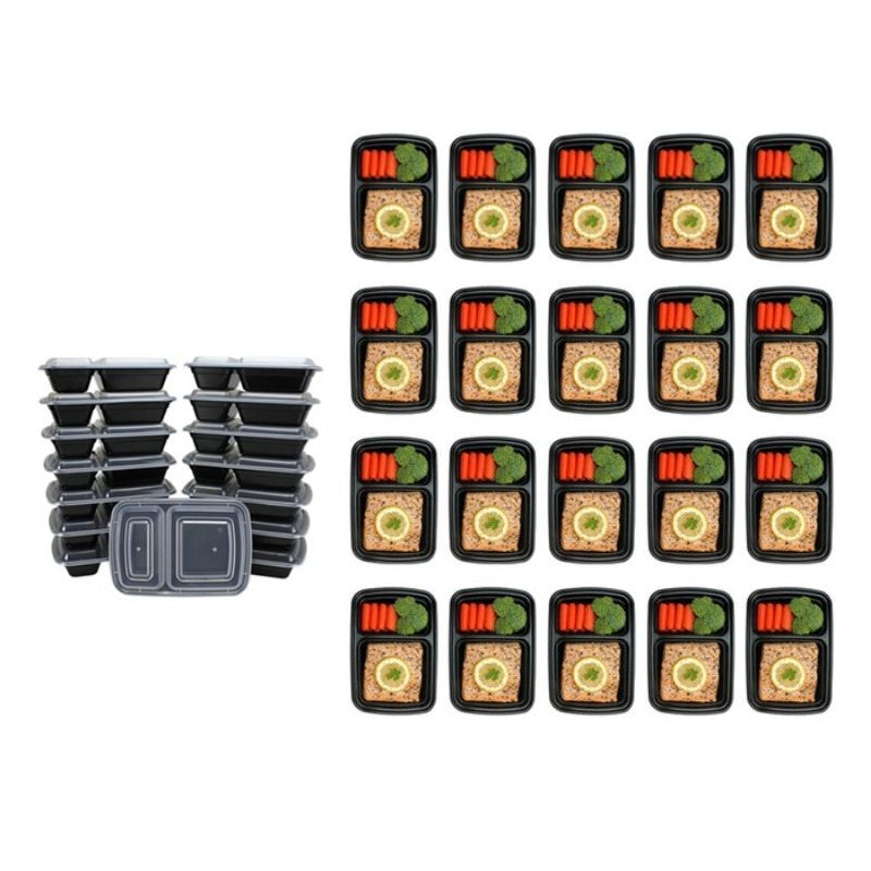 Reusable Food Storage Container Set - 20 or 40 Piece-2 Compartment 32oz - 20 Piece-Daily Steals