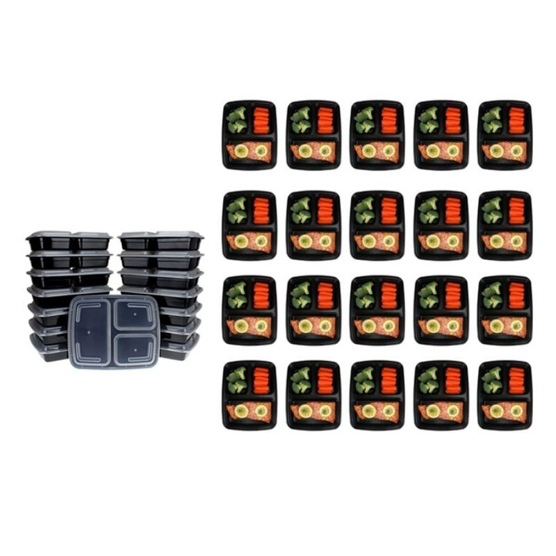 Reusable Food Storage Container Set - 20 or 40 Piece-3 Compartment 36oz - 20 Piece-Daily Steals