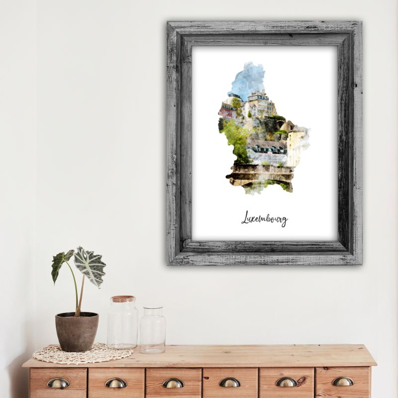"Luxembourg Watercolor Map Print - Unframed Art Print-11""x14""-Vertical/Portrait-Daily Steals"