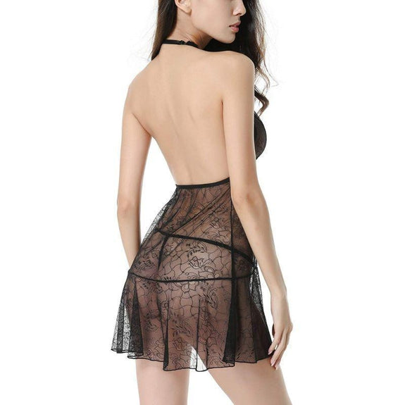 Luxury Lace Mesh Lingerie Nightgown Halter Set-Black-M-