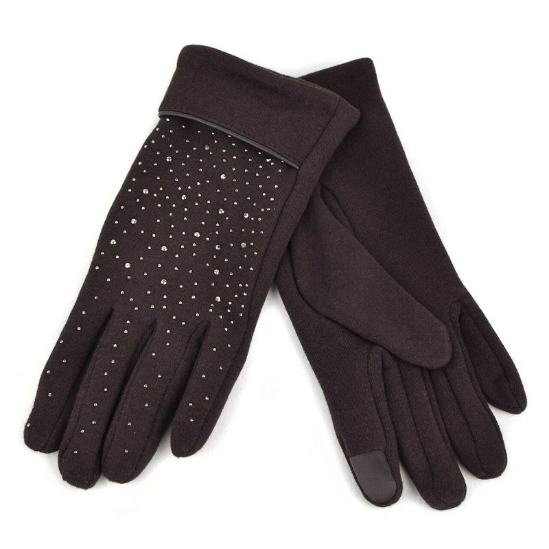 Touch Screen Women's Gloves with Studs Decoration-Brown-Daily Steals