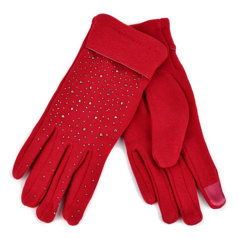 Touch Screen Women's Gloves with Studs Decoration-Red-Daily Steals