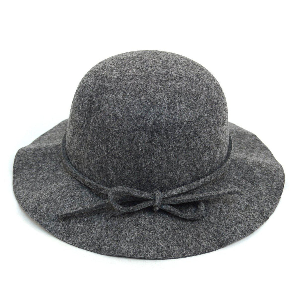Women's Felt Floppy Short Brim Bowknot Hat - 6 Colors Available-Grey-Daily Steals